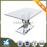 Metal Material and No Folded glass top table