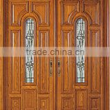 Solid Mahogany Wood Entry Door Double Prehung Walnut Finishing