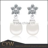 CYW China popular 925 sterling silver imitation pearl earrings jewelry wholesale