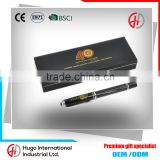 Newest Customized Logo Promotional Black Classical Shiny Metal Roller Ball Pen With Gift Box