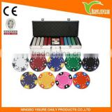 Plastic Pocker Chips Set 500 piece Ace King Clay Poker Chip Set For Casino 5-8players