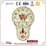 Green dial beautiful flowers paris feeling pendulum new round wood wall clock