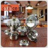 high quality stainless steel ware 12pcs 3 layor capsuled bottom stock pot milk pot fry pan set withwith Bakelite handles