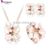 2016 Best Seller Jewelry Set Rose Gold Plate Austrian Crystal Enamel Earring/Necklace/Ring Flower turkish jewelry