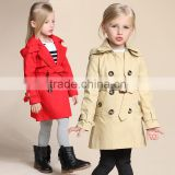 Bbay Girls Kids Hood Lightweight Trench Coat Autumn Winter Jacket Outwear Cotton Woven Comfortable Fabric Wholesale Factory