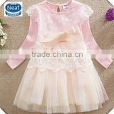 (LD6613) PINK 18m-6y baby girls wedding dresses 100% cotton children clothes birthday dresses winter princess frocks kids wear