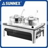 SUNNEX Highly Polished Stainless Steel 4LTR x 4 Bain Maries 220V AC, 760W Table Top Electric Bain Marie