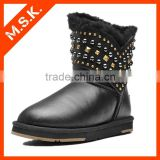 New Glossy skin punk rivet cowboy boot