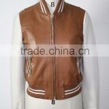latest wear ladies fashion PU leather baseball jacket