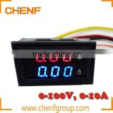 "Cheaper High Quality DC Volt Amp Dual display Meter 0.28"" DC 0-100V/10A Voltmeter Ammeter With Ampere Shunt Red+Blue LED"