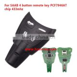 New arrival Opel SAAB 4 button remote key With PCF7946AT Chip and 433Mhz for saab remote car key