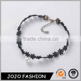 Popular hot sale black lace women bracelet with pearl