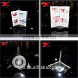 Rotating & triangle acrylic table menu stand for restaurant, acrylic menu display wholesale