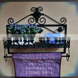 home accessory storage towel organizer handmade decorative towel rack,metal wall shelf,bathroom shelf with towel bar
