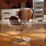 Aluminum Egg Shell Shape Leisure Leather Chair/Living Room Replica Relaxation Leather Sofa