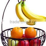 Black Metal Wire Fruit Bowl with Banana Hanger