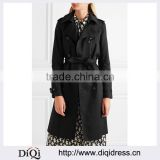 Wholesale Ladies Apparel Black Fashion Belted Waist Gabardine Trench Coat(DQE0398C)