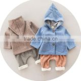 KS002A Korea style solid color hooded sweater cardigan boys clothing sets baby clothes
