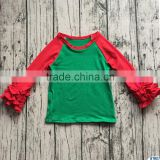 hot sale red ruffle raglan long sleeves children's christmas t shirt boutique kids blank shirts baby girls fall cotton clothes