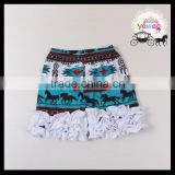 2016 yawoo new arrival horse patterns animal printed ruffle shorts baby clothes wholesale sew sassy icing shorts