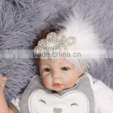 Rhinestone and feather little girl banquet baby accessories wholesale girl headband