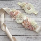 Peach Cream Flower Sash & Headband Sets Maternity Belt With Pearl Baptism Headband Couture Sash