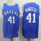 Dallas Mavericks #41 Nowitzki Throwback Blue Jersey