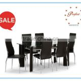 new upholstered faux pvc Glass dining table top tempered glass for elegant dining furniture PDT14942