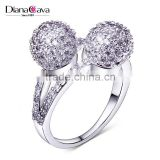 Unique Double Ball Wedding Party Pave Setting CZ Fashion Jewelry Ring for Women