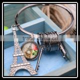 2015 Hot Sale Fashion Creative Zinc Alloy Silver Plated Key Star EiffelTower Shape Key Chain