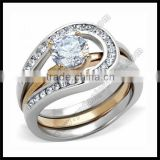 Two Tones Rose Gold CZ Stone latest wedding ring designs