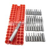 "Security Tamper Proof Bit Set 33pcs Torq Torx Hex Star Spanner Tri Wing Electric Screwdrive Hex Bit 1/4"" 6.35mm Magnetic Holder"