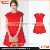 Hot Sale 2016 fashion short sleeve A-line O-neck red women dress with polyester fiber fabric
