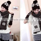 Winter knitted beanie scarf gloves set , good quality knitted hat scarf