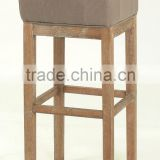 Antique Style colorful and Square Seat Home bar chair /Fabric Seat High Bar Stool(KY-3158-OAK)