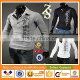 Sexy Mens Wholesale Clothing Market Casual Fashion T-shirts Polo Shirt Long Sleeve Tops                                                                         Quality Choice