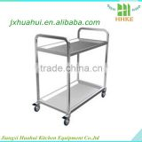 Hotel 2 layers stainless steel housekeeping cart, service cart, food service trolley for restaurant equipment