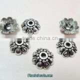 Wholesale 10mm Jewelry Accessories Retro Tibetan Silver Flower Bead Caps PB-BC002