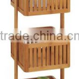2015 high quality new products bamboo Basket Storage Tower 3 tier bathroom towel shelf bathroom towel rack wholesale