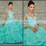 Trendy Sweetheart Full Length Ruffled Bead Crystal Coral Quinceanera Dresses For Wedding Dinner HAQ-003