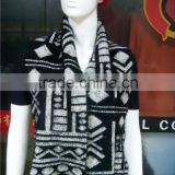 winter fashion acrylic soft and warm jacquard black and white scarf no tassels for lady 2014-2015