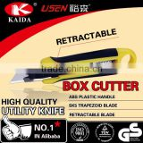 Stationery Cutter Trapezoid blade Plastic with rubber grip handle Auto Retractable Safety Box Cutter