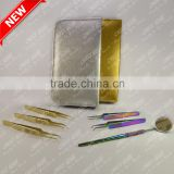 Gold Plated and Multi plasma color coated Eyelash Extension Tweezer Kit (All In One)