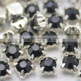 jet black sew on round rhinestones machine cut glass chaton in silver claw