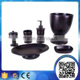 Hotel classical dark brown wood bath set for bathroom accessories with liquid soap dispenser