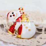 47*29mm New Design High Quality Fashion Hot Sale Cute Christmas Snowman Decrotive Brooch Crystal Brooches