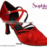 Suphini Red Satin Ladies Footwear China Ballroom Dance Shoes
