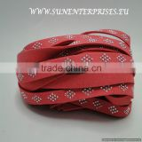 Flat Nappa Leather cords -Suede Cords with rhombus 10 mm watermelon red