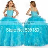 Sky Blue Beaded Custom Made Vestidos Girl Dress for Wedding Ball Gown FG033 american princess flower girl dresses