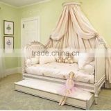 Victoria Style Solid Wood Carved Kid's Daybed, Ornate Design Children's Bed Bedroom Furniture, Vintage Princess Bed With Drawer